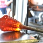glass blower marvers golden molten glass