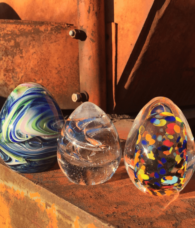 readymade glass art eggs