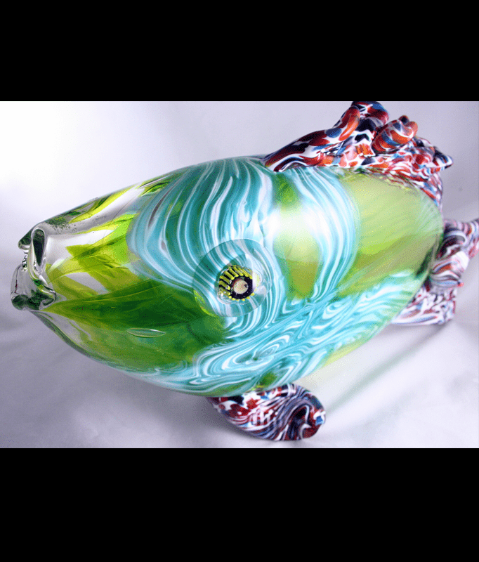 readymade glass art fish