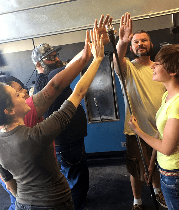 Teambuilding group at Caliente Hot Glass
