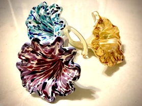 hand pulled art glass flowers, Fleur de Verre